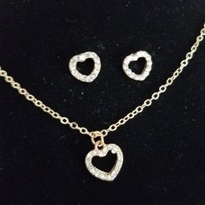 Gold Crystal Paved Heart Jewelry Collection